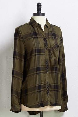olive fall plaid top