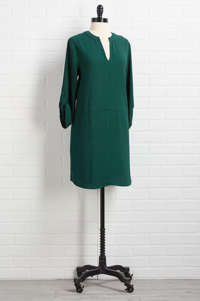 V Neck Shirt Dress
