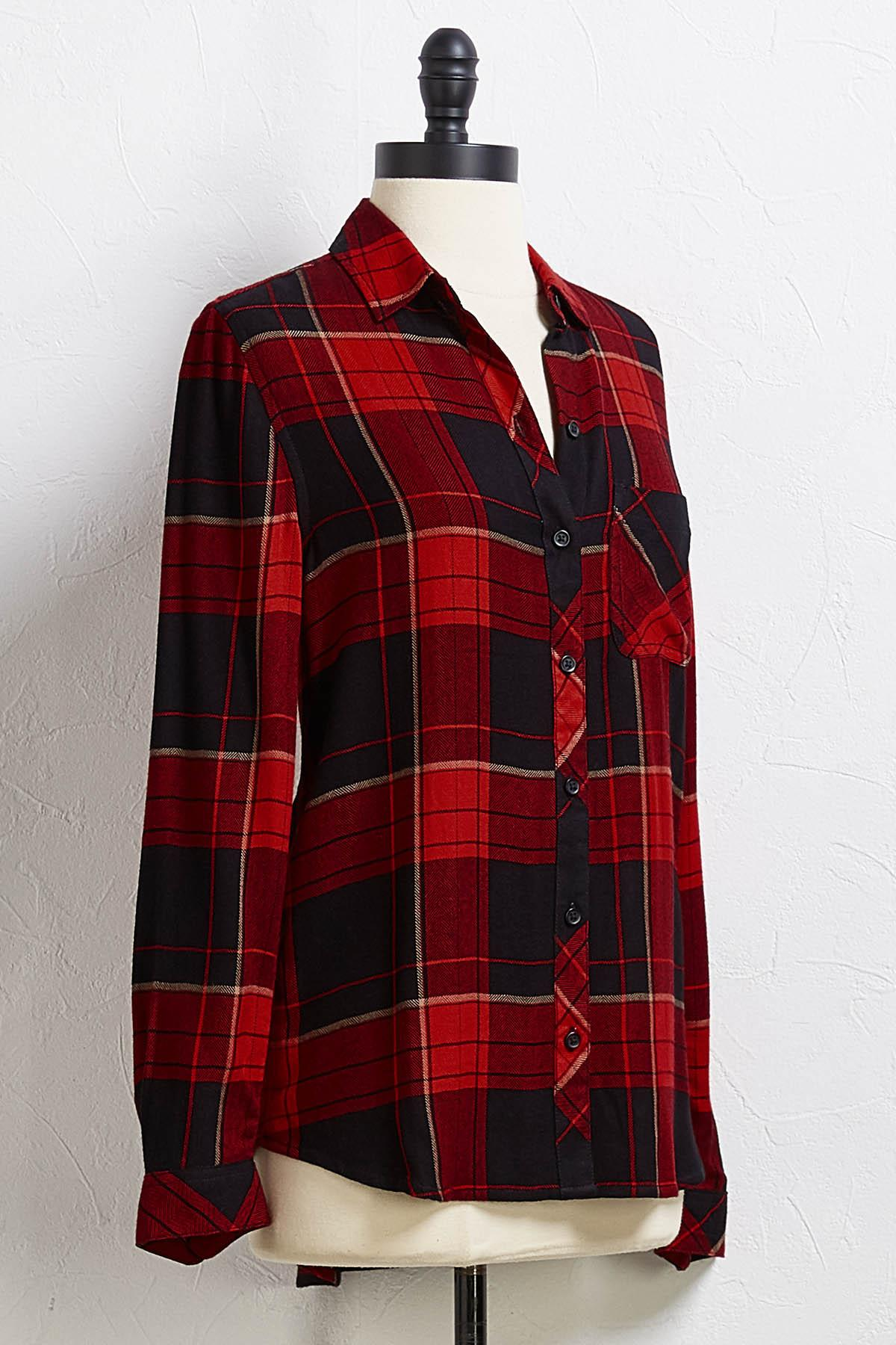 Barn Red Plaid Top