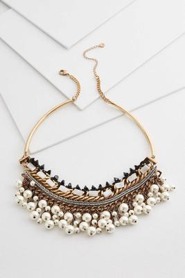 pearl deco bib necklace