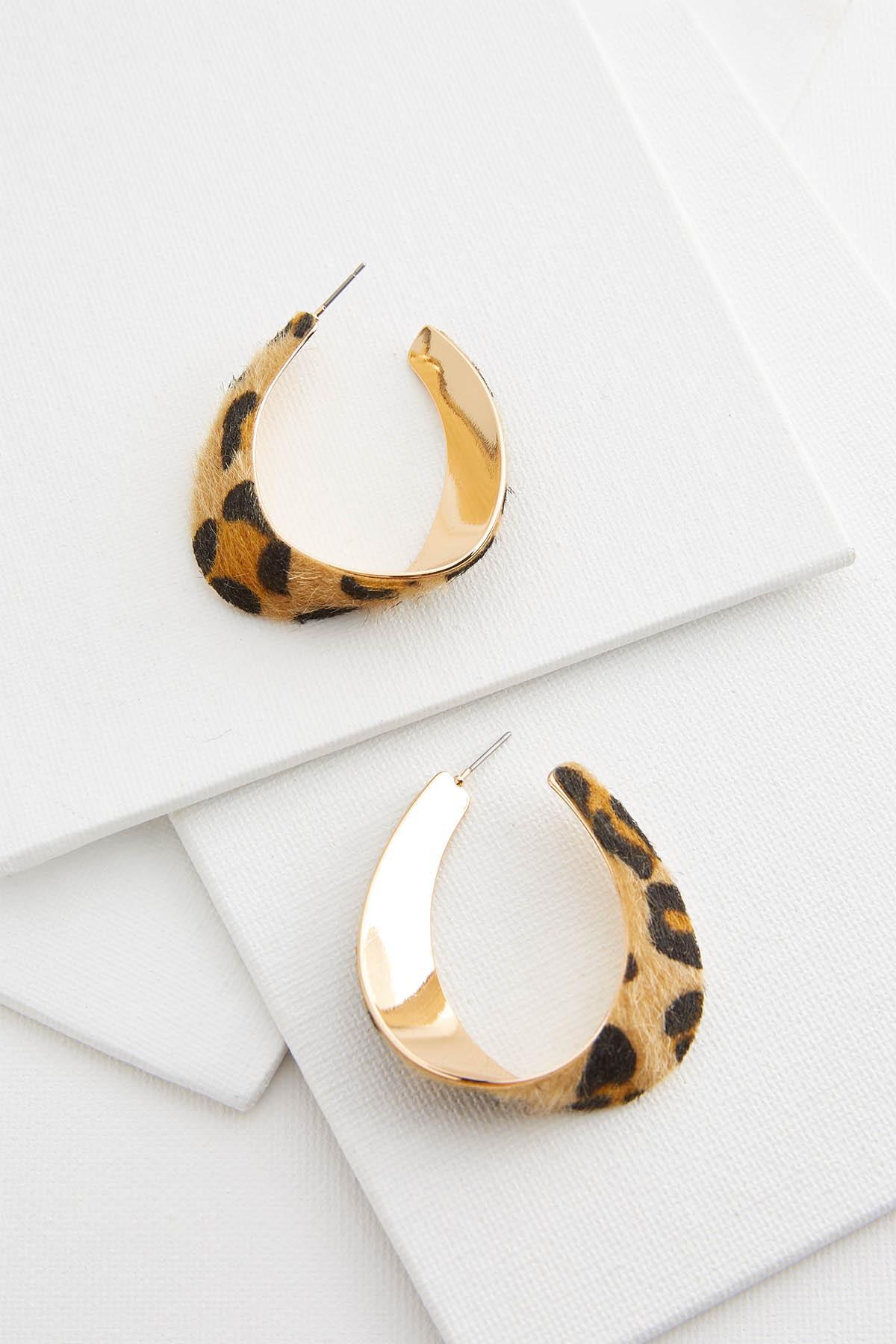 Furry Leopard Hoop Earrings