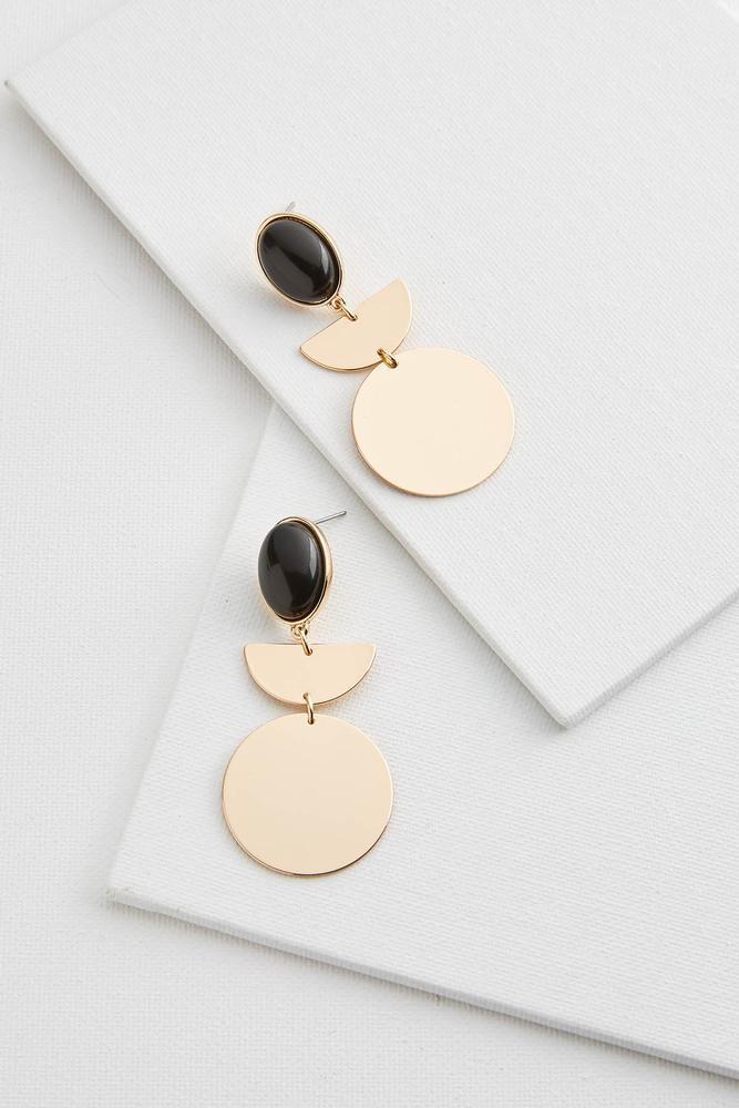 Geo Oval Stone Earrings