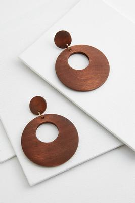 double disc wooden earrings