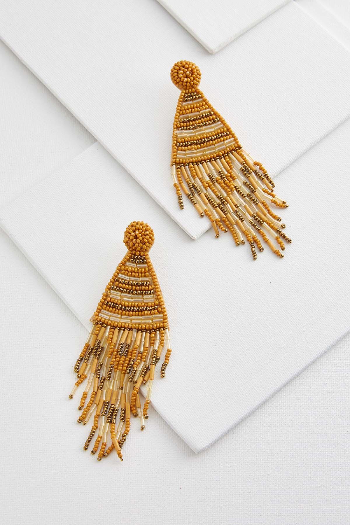 Golden Beaded Tassel Earrings