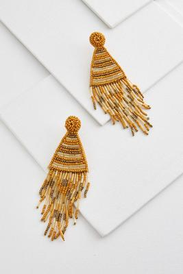 golden beaded tassel earrings