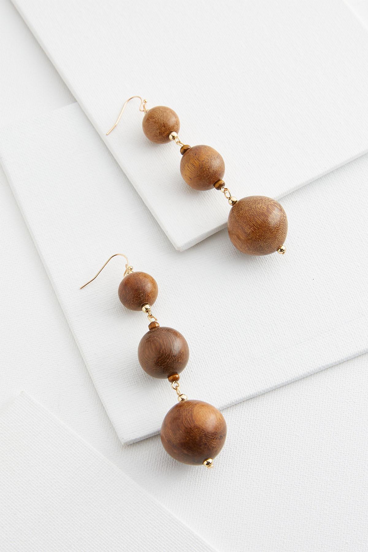 Graduated Wooden Sphere Earrings