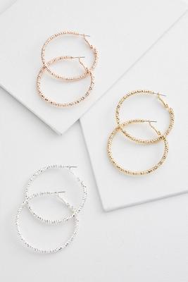 tri-toned hoop earring set