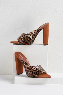 clear printed heels