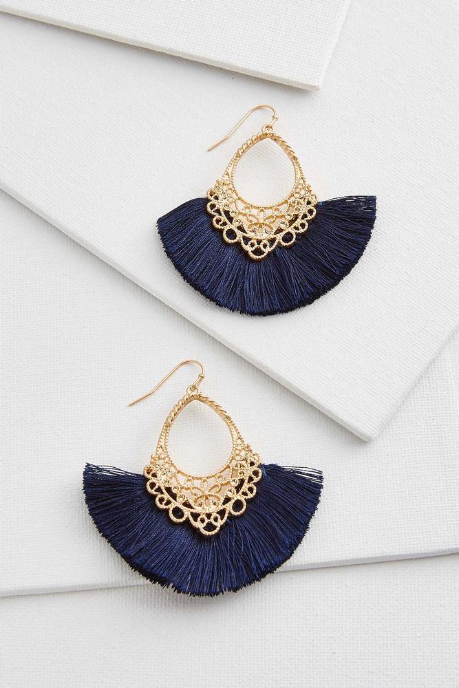 Shimmery Filigree Tassel Earrings
