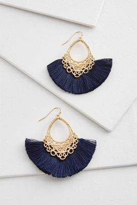 shimmery filigree tassel earrings
