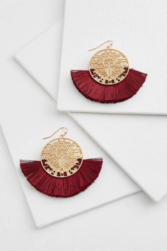 Circle Filigree Tassel Earrings