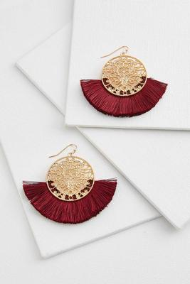 circle filigree tassel earrings