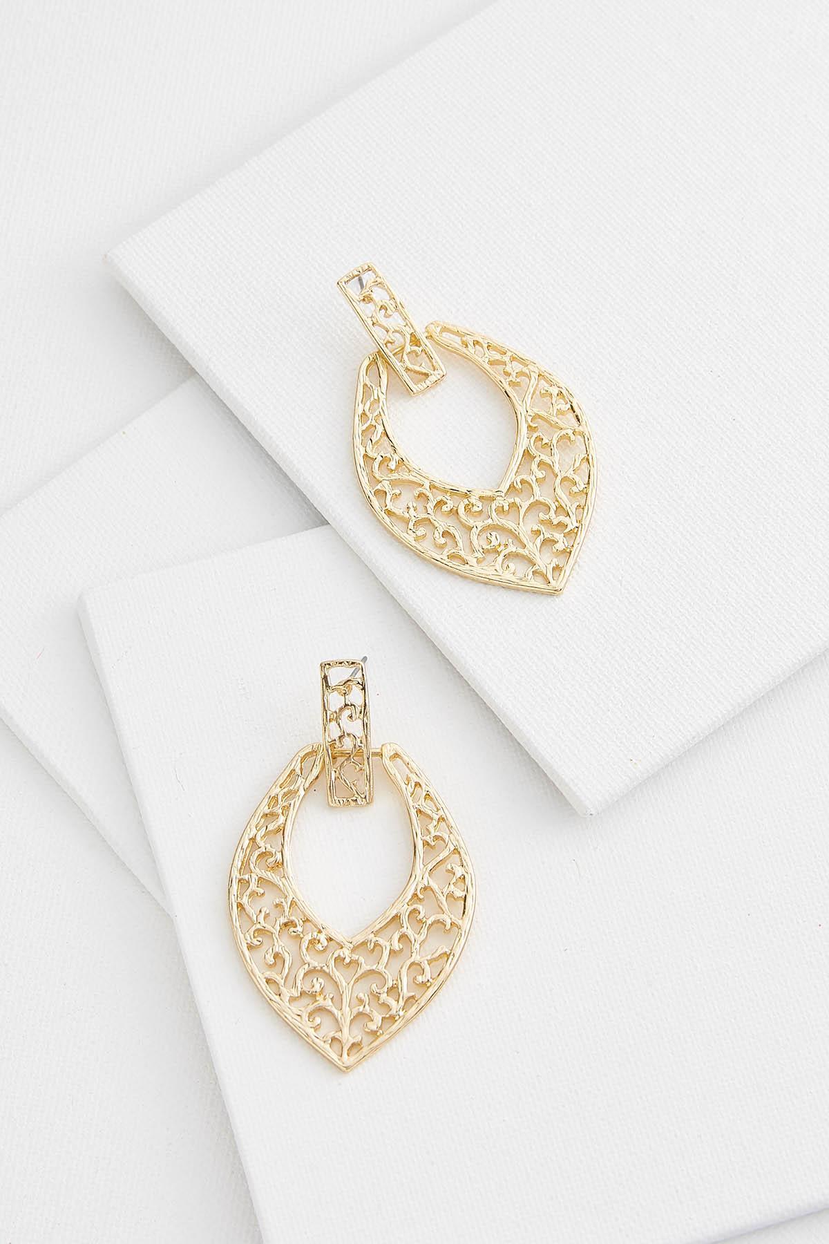 Fancy Filigree Door Knocker Earrings
