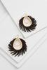Wispy Faux Leather Oval Earrings