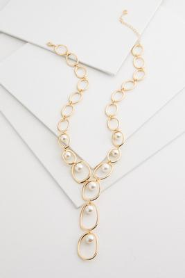 open link pearl y-necklace