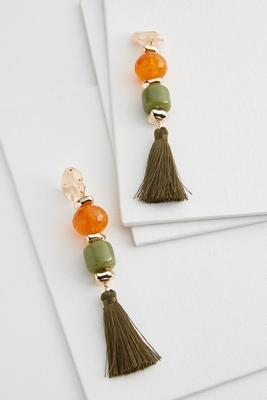 citrus lucite tassel earrings