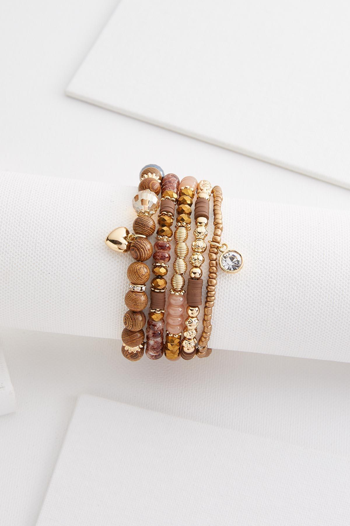 Wood And Gold Bracelet Set