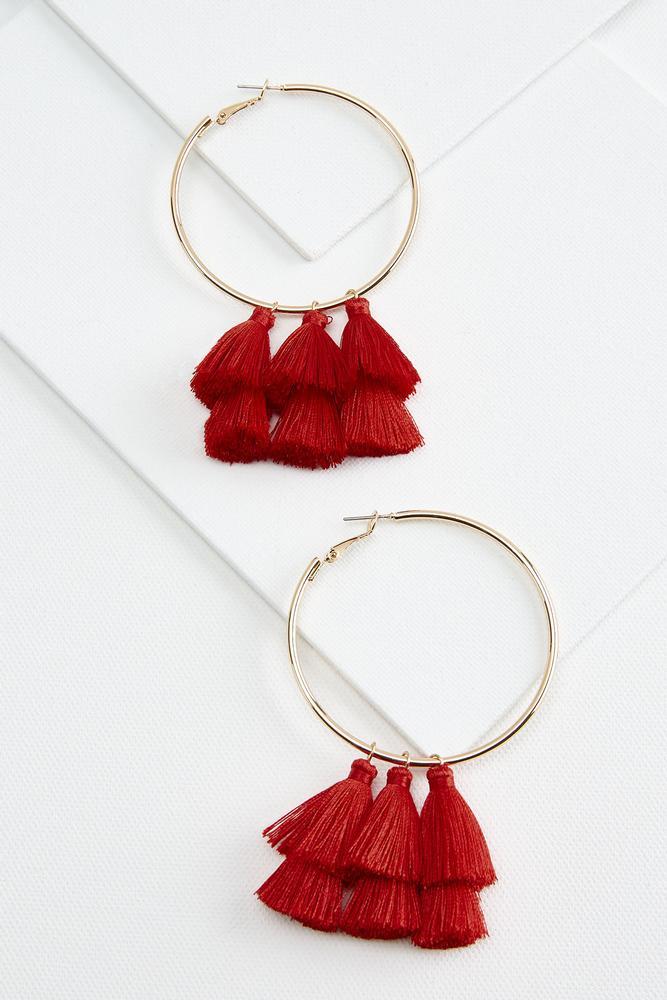 Dangling Tassel Hoop Earrings