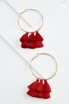 dangling tassel hoop earrings