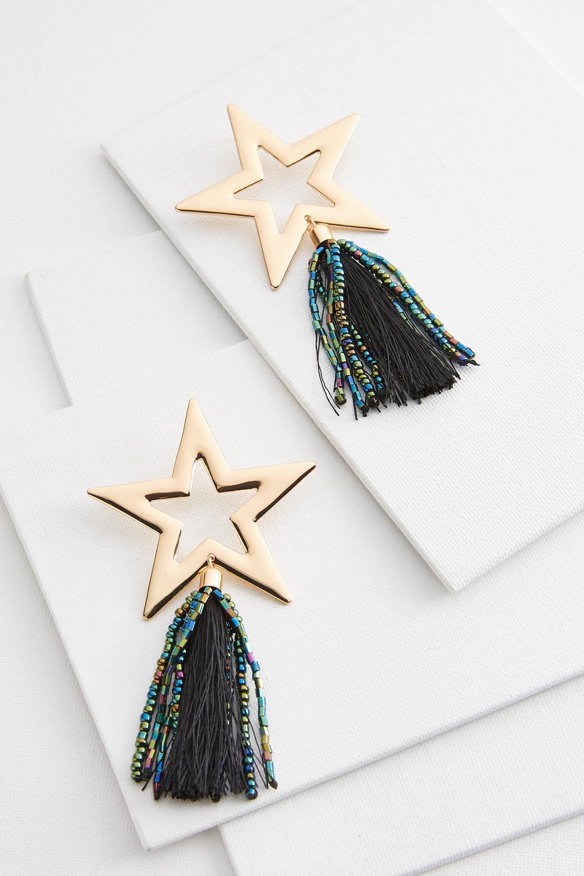 Star Bead Tassel Earrings
