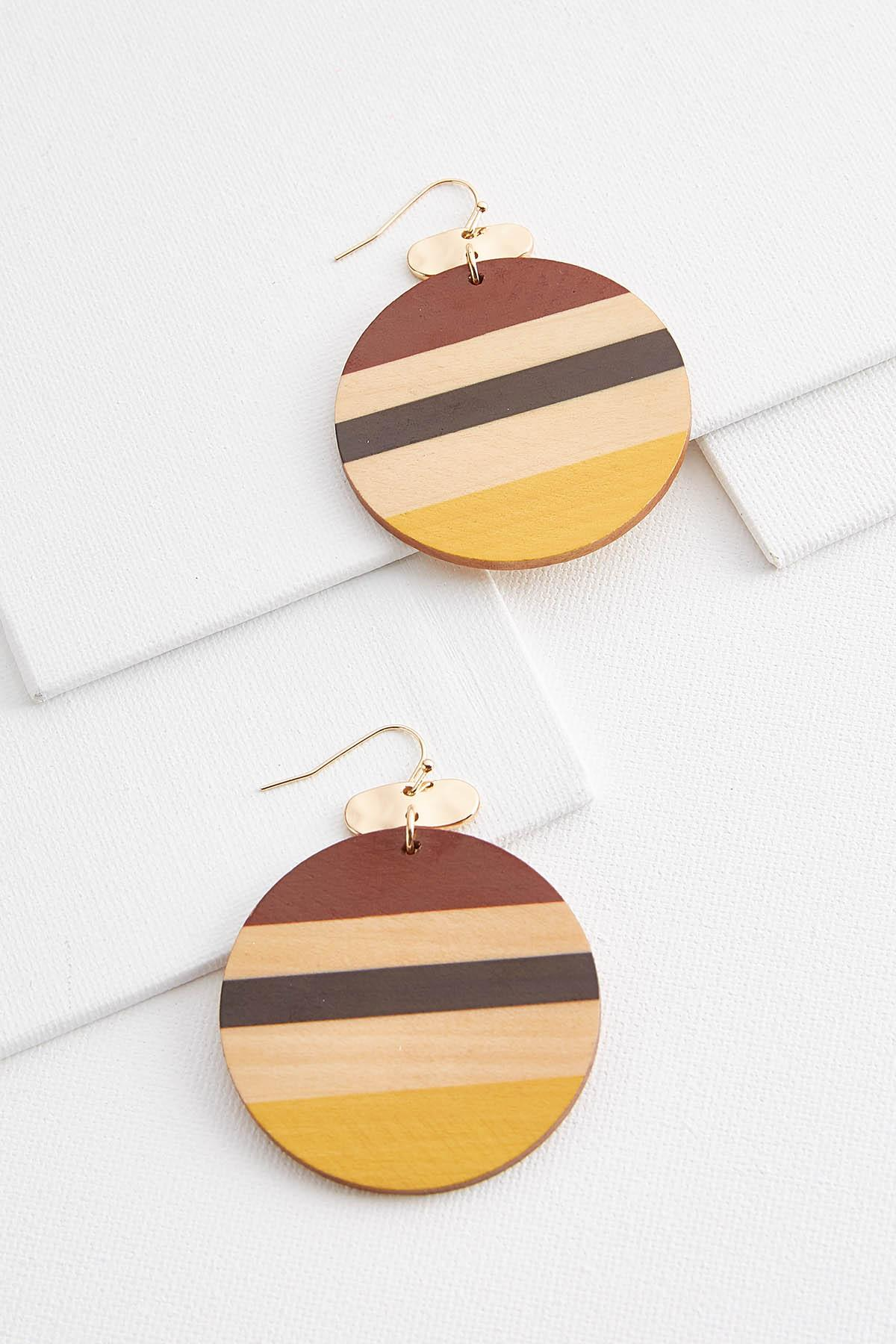 Striped Wooden Circle Earrings
