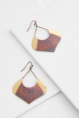 two-toned hammered metal earrings