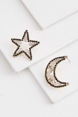 star and moon post earrings