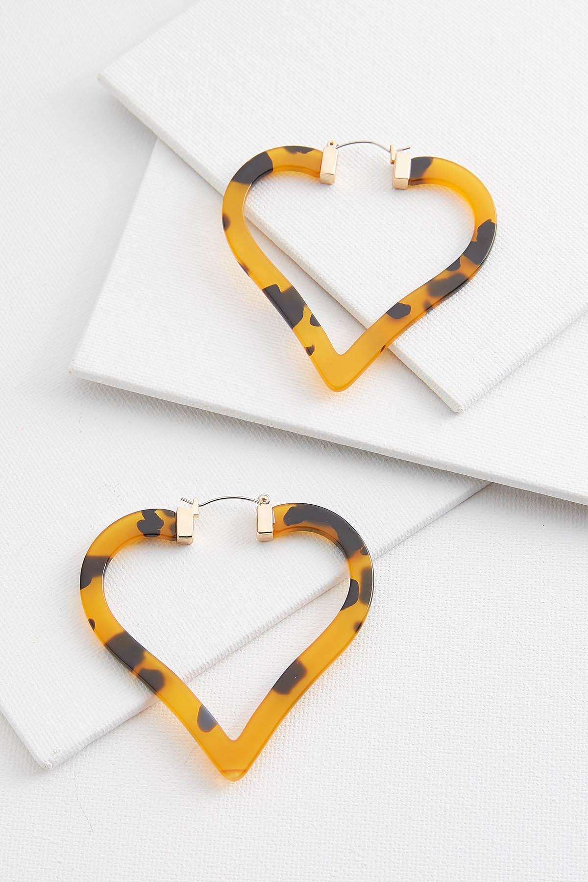 Lucite Heart Hoop Earrings