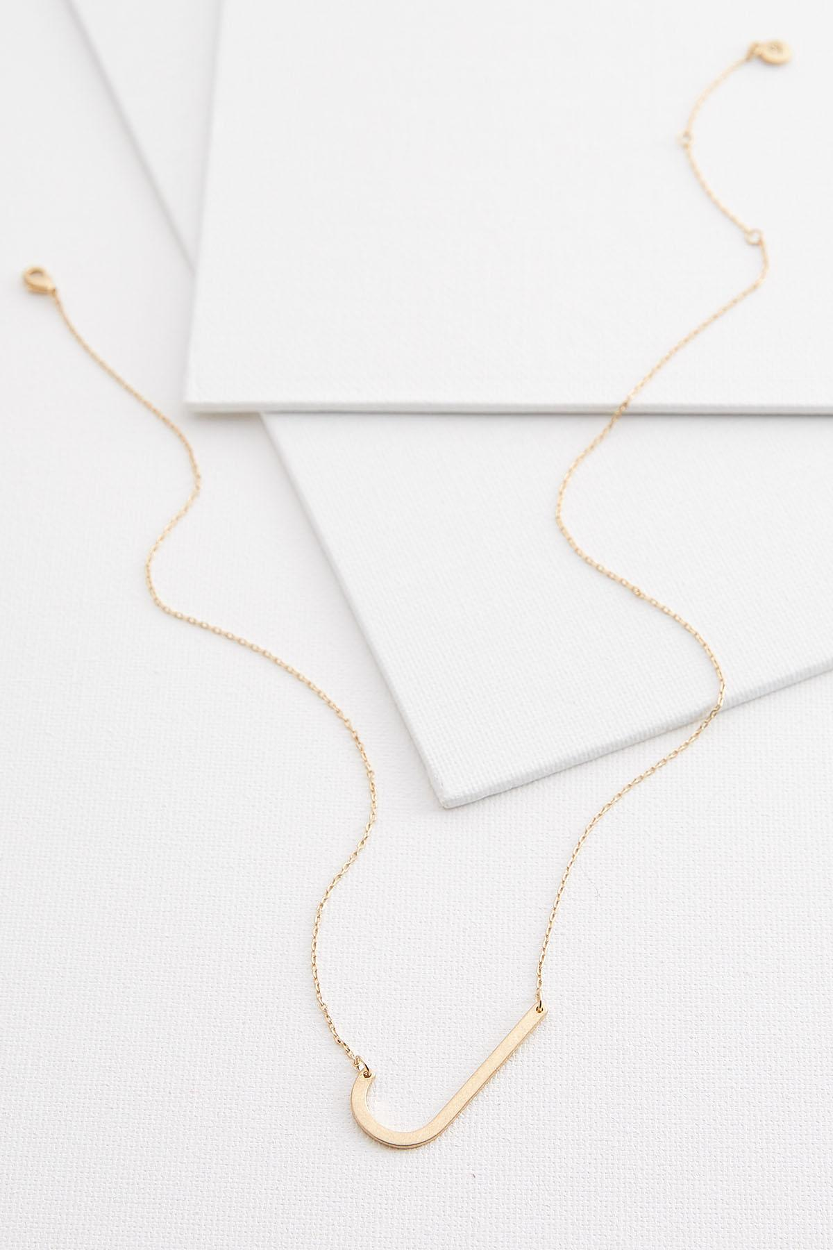 Diagonal J Pendant Necklace