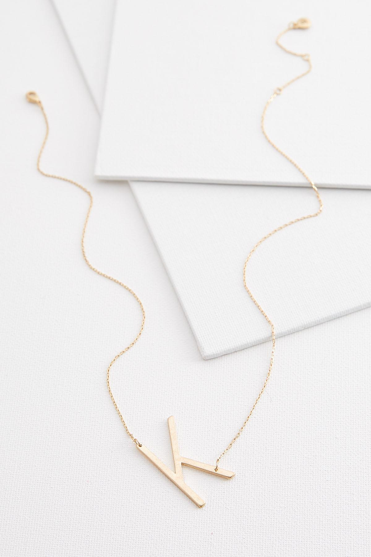 Diagonal K Pendant Necklace