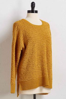 popcorn step hem sweater