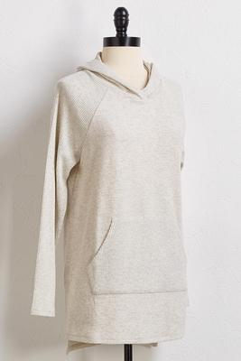 taupe ribbed knit hoodie