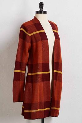 autumn spice plaid cardigan