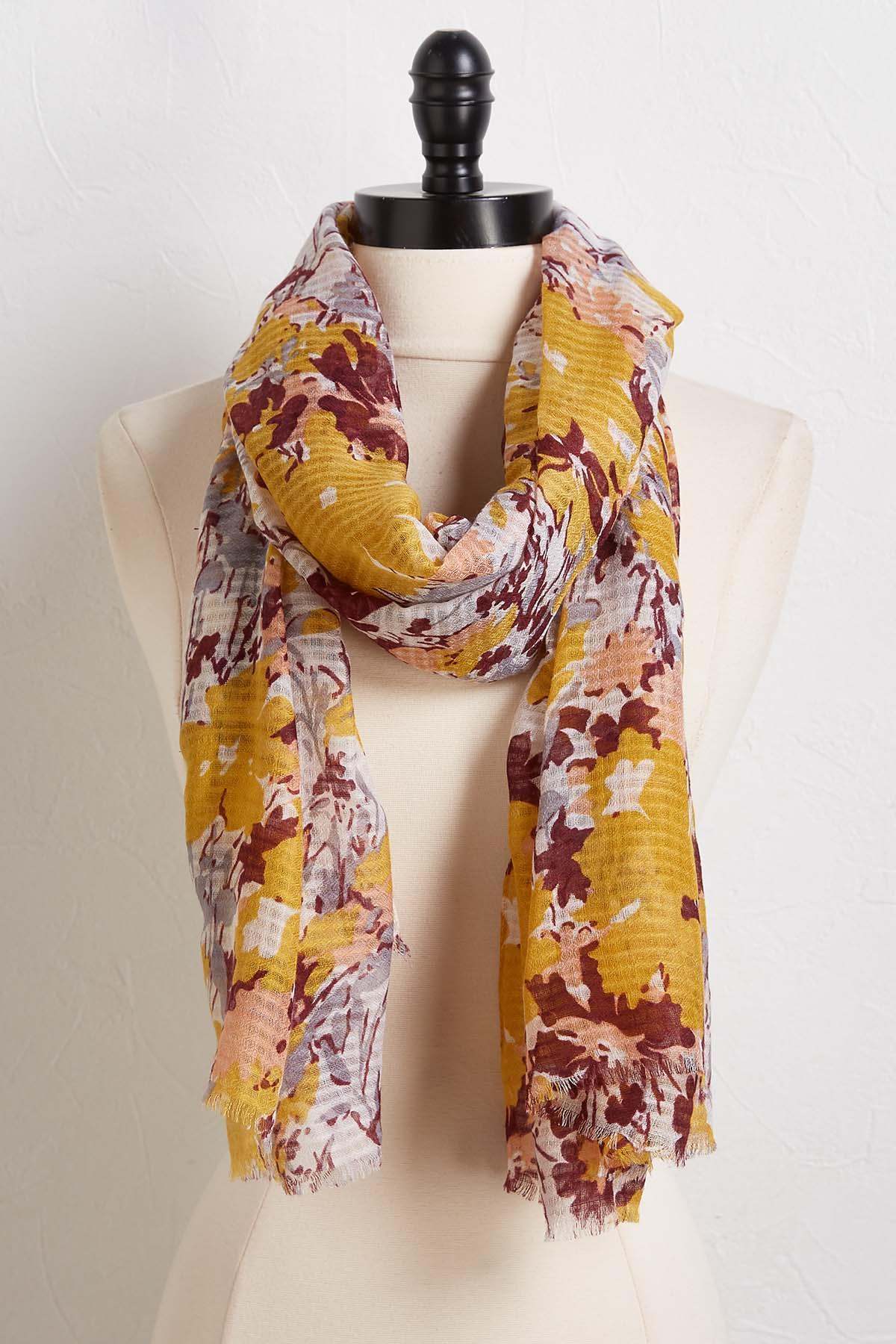 Golden Floral Scarf