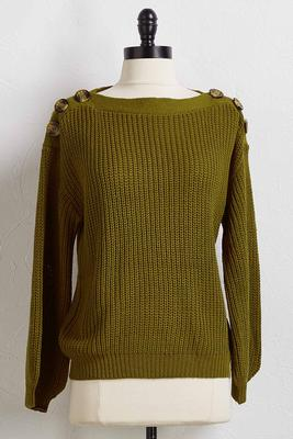 olive button shoulder sweater