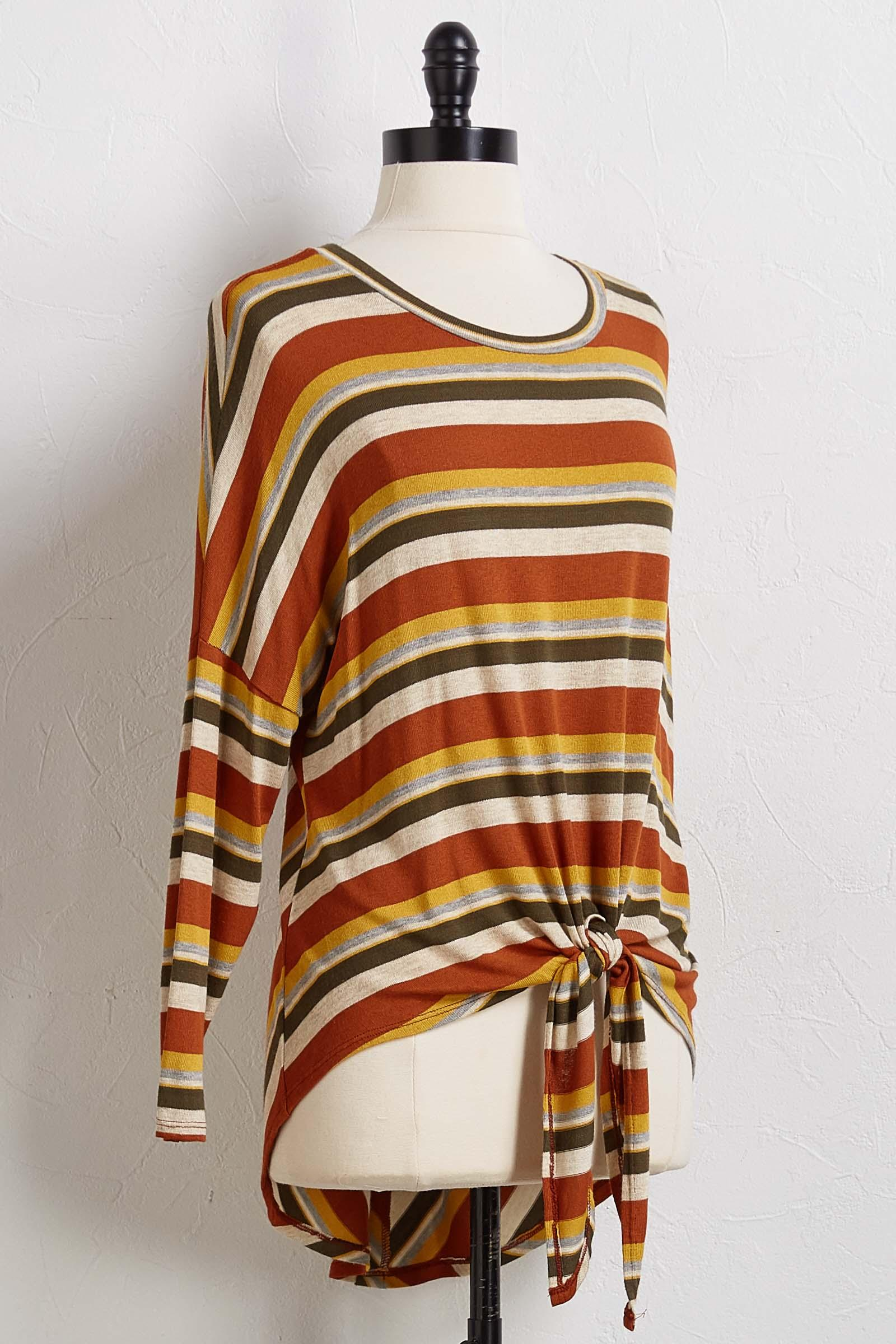 Mitered Stripe Knot Front Top