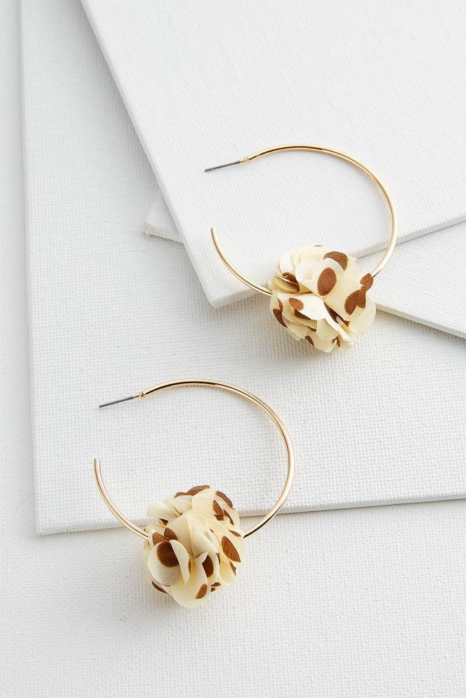 Fabric Flower Hoop Earrings