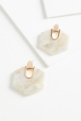 lucite hexagon earrings