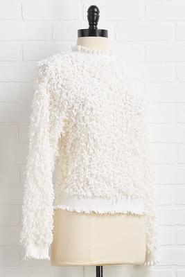 eyelash confetti fringe sweater