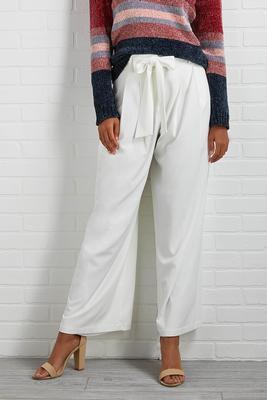 ivory tie waist wide leg pants