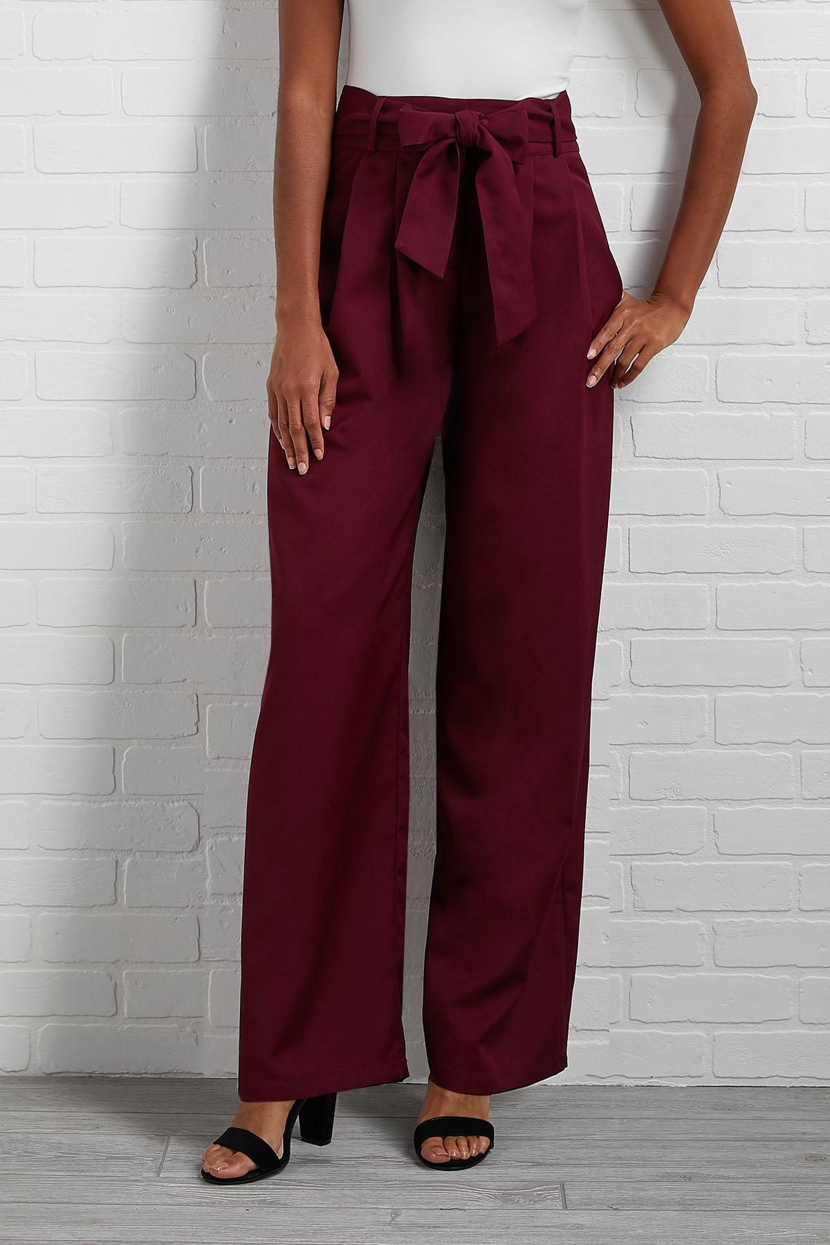 Wine Tie Waist Wide Leg Pants