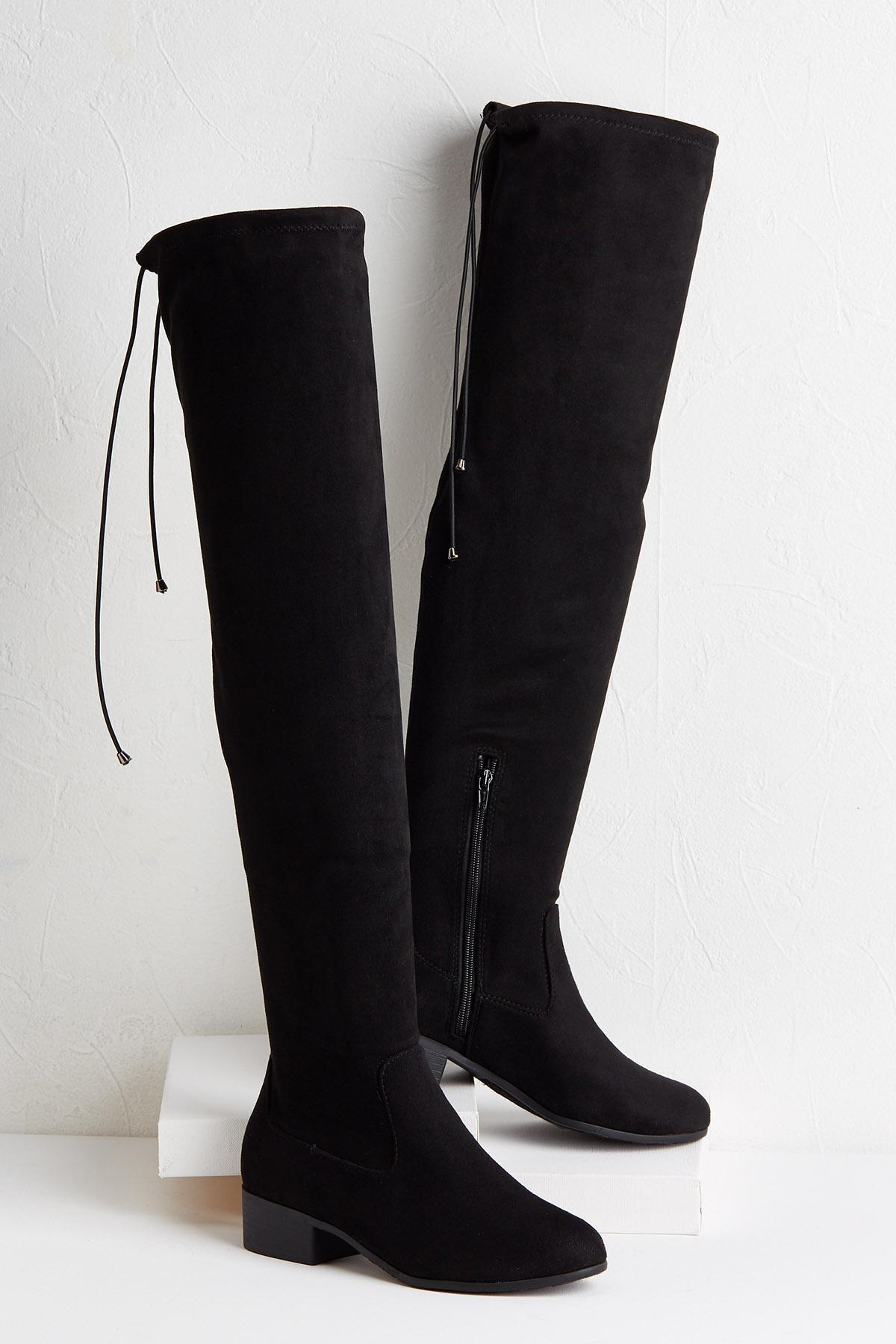 Over The Knee Low Heel Boots
