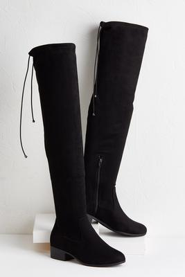 over the knee low heel boots