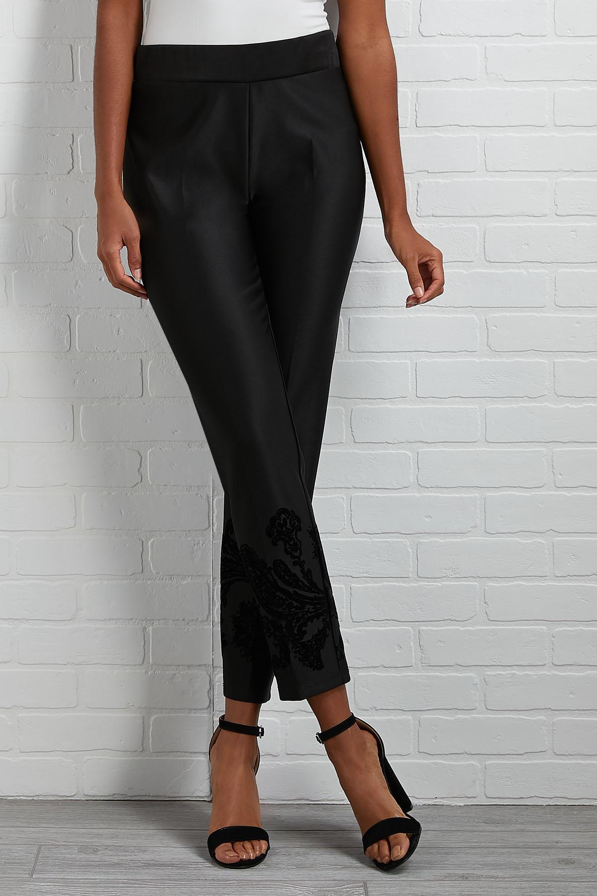 Flocked Black Pants