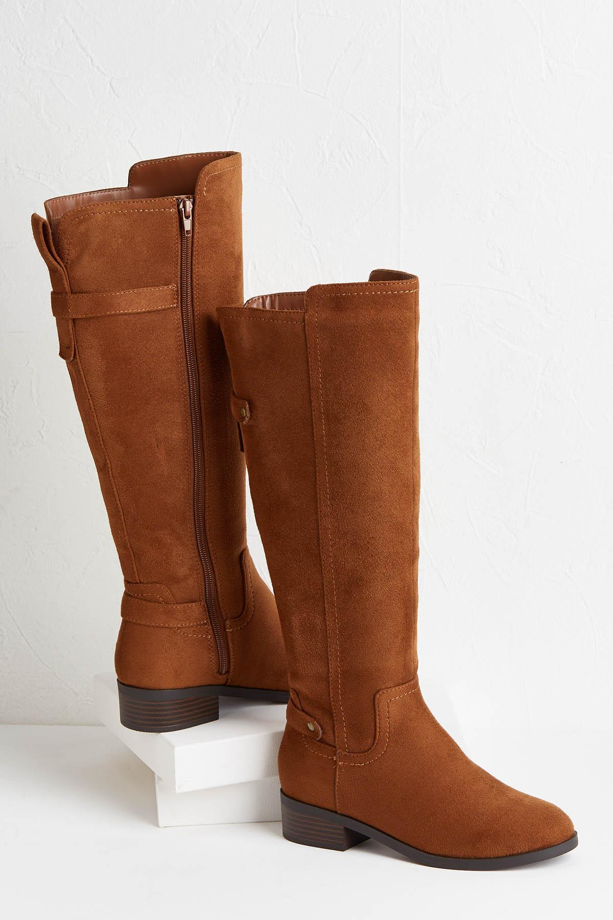 Faux Suede Riding Boots