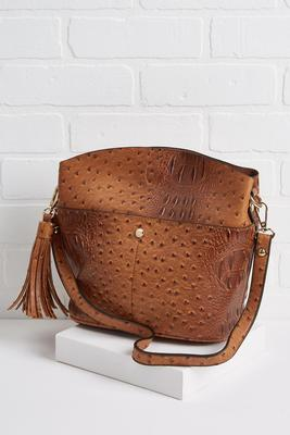 tasseled bucket crossbody bag