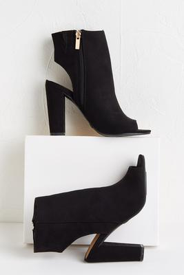 black cutout booties