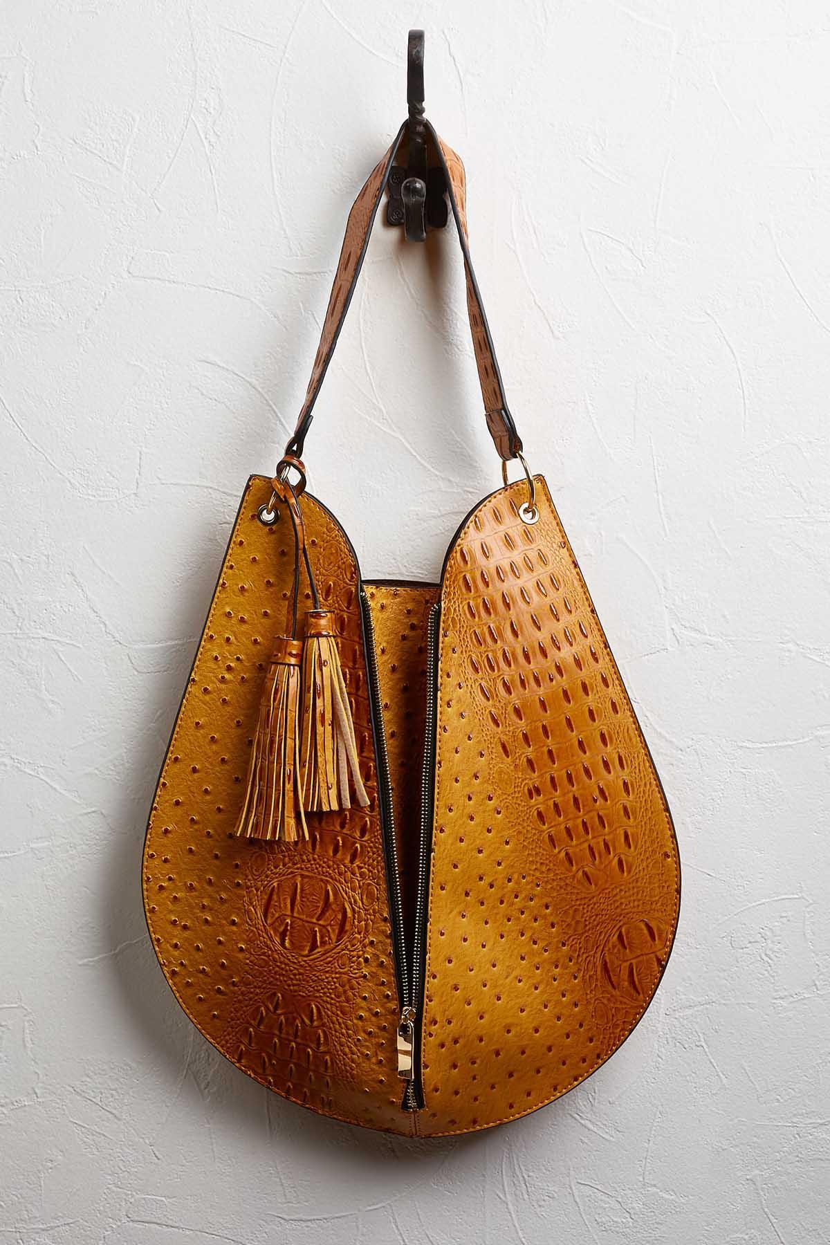 Faux Ostrich U- Shaped Bag