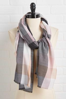 blush plaid scarf
