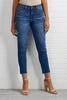 Frayed High Rise Skimmer Jeans